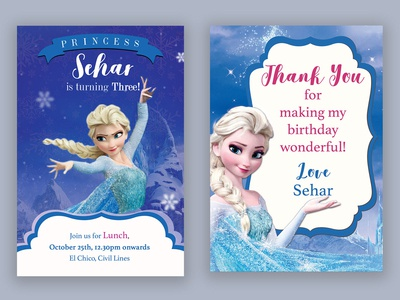 Birthday Invite and Thank You card on Frozen theme