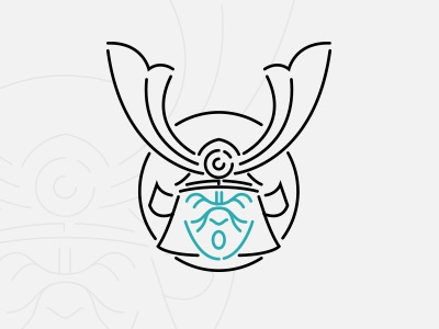 Samooorai logo mask design flat minimal illustration vector samourai samurai kabuto japan icon