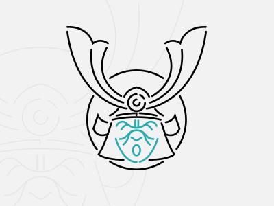 Samooorai logo mask design flat minimal illustration vector samourai samurai kabuto japan icon