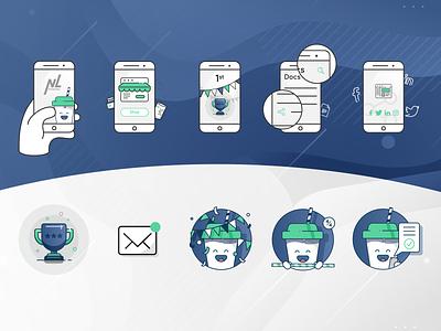 Mobile app illustrations mascot design mascot character mobile app mobile app design app illustrator illustration mascot