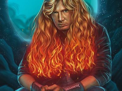 Dave Mustaine 🔥🎸 fire thrashmetal redhead neon cg paint megadeth mustaine rock draw digital illustration