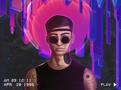 Matrang 🌖 city neon retrofuture glitch 80s 90s sunthwave cg matrang boy man illustration
