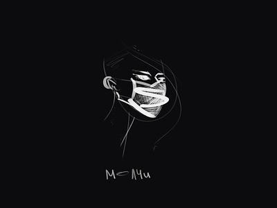 silence white art digital girl black paint draw illustration