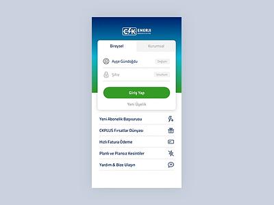 CK Enerji - Login ck enerji mobile app login form login app mobile ux ui