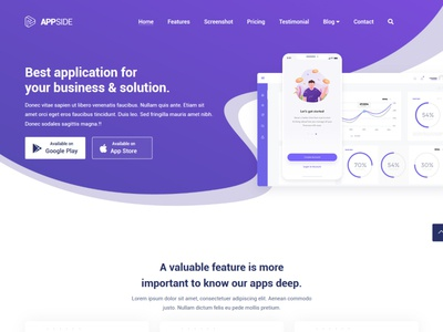 AppSide App Landing Page Template mobile subscribe contact showcase android ios landing app template bootstrap flashblue appside