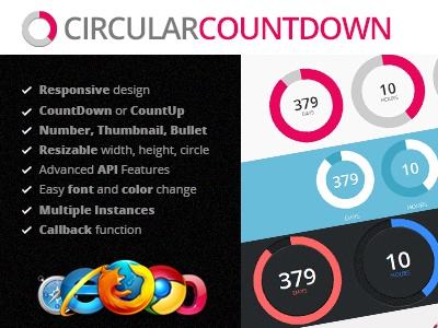 Circular Countdown jQuery Plugin by FlashBlue on Dribbble