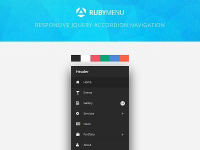 RubyMenu - Responsive jQuery Accordion Navigation skin fontawesome effect css3 flashblue accordion jquery responsive navigation menu ruby