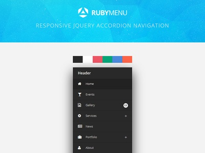 RubyMenu Responsive jQuery Accordion Navigation skin fontawesome effect css3 flashblue accordion jquery responsive navigation menu ruby