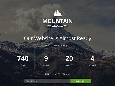 Mountain - Responsive Coming Soon Theme youtube slideshow image retina subscribe ajax countdown flashblue theme construction responsive mountain