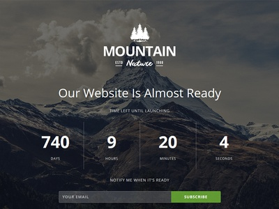 Mountain Responsive Coming Soon Theme youtube slideshow image retina subscribe ajax countdown flashblue theme construction responsive mountain