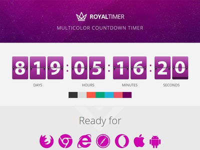 RoyalTimer Multicolor Countdown Timer vector flip digital multiple resizable responsive canvas flashblue timer countdown multicolor royaltimer