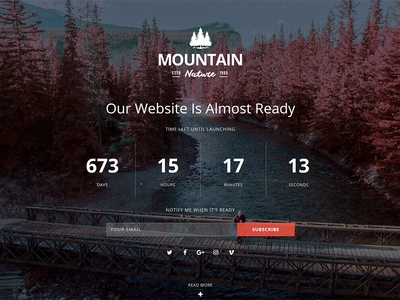 Mountain Responsive Coming Soon WordPress Plugin video slideshow image subscribe countdown flashblue plugin wordpress soon coming responsive mountain