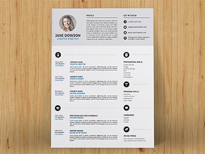Clean Resume template cmyk color dark light layered print psd flashblue 300dpi cv resume