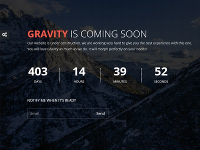 Gravity - Responsive Coming Soon WordPress Plugin video slide image mailchimp subscribe ajax countdown flashblue plugin wordpress responsive gravity