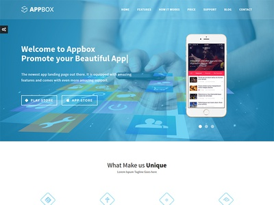 Appbox Responsive App Landing Template ios android mobile showcase contact ajax flashblue template page landing app appbox