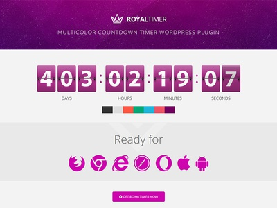RoyalTimer Multicolor Countdown Timer WordPress Plugin resizable vector flip responsive canvas plugin wordpress flashblue timer countdown multicolor royaltimer