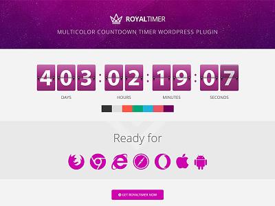 RoyalTimer - Multicolor Countdown Timer WordPress Plugin resizable vector flip responsive canvas plugin wordpress flashblue timer countdown multicolor royaltimer
