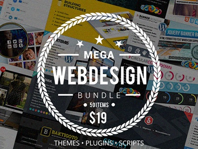 Mega Web Design Bundle with Extended License - Only $19 bundle deal web design theme html css wordpress plugin javascript php script