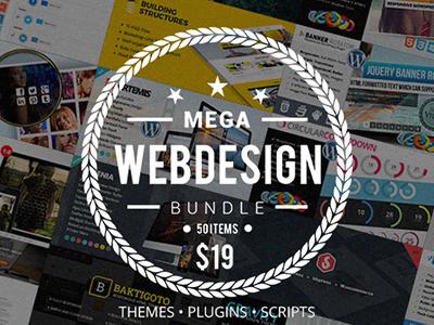 Mega Web Design Bundle with Extended License - Only $19 bundle deal web design theme html css wordpress plugin javascript php script