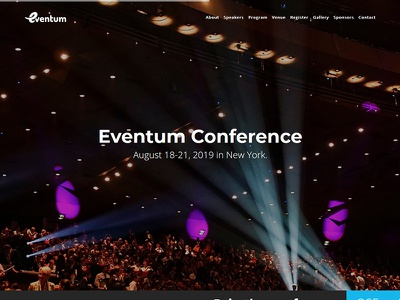 Eventum - One Page Event & Conference Template workshop webinar summit seminar meetup exhibition festival convention template conference event flashblue