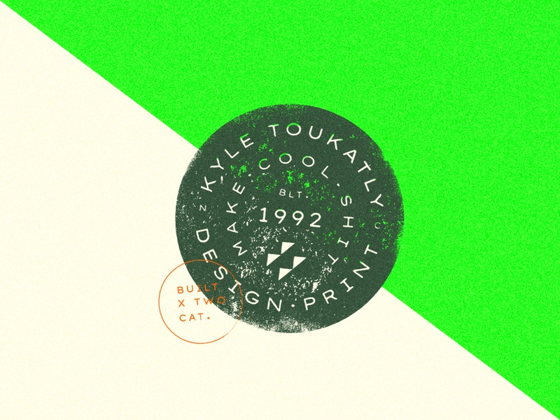 2+cat+ly Design - Brand Badge branding stamp vintage badge texture design