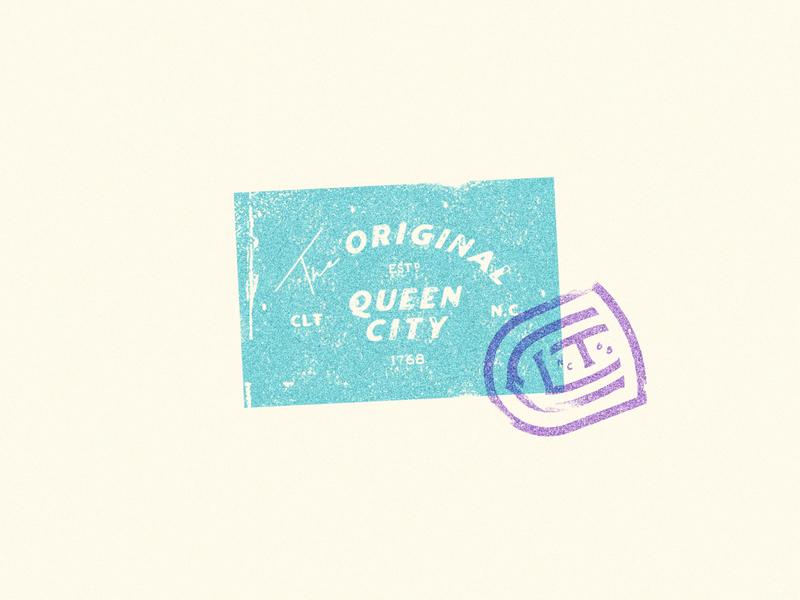 The Queen City Badge stamp vintage badge design texture queencity charlotte
