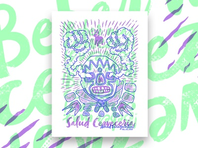 Salud Cerveceria Grand Inauguration 2017 Poster brewery spanish poster screen print luchador beer