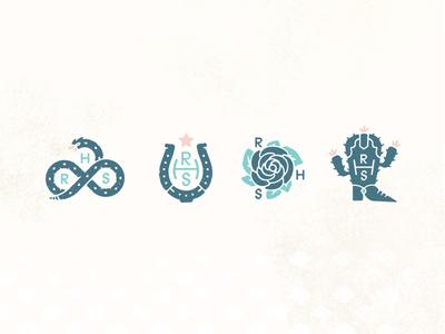 Redheaded Stranger bird snake horseshoe rose boot cactus design illustration texture nashville cowgirl