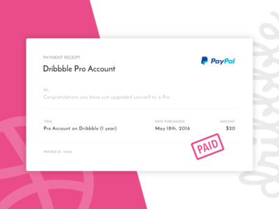 Daily UI #017 - Email Receipt logo pink dribbble receipt email clean ux blue design ui dailyui