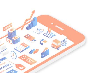 Isometric Mobile Illustration for Shotang Website blue iphone ui icon gradient ecommerce app design 3d illustration isometric