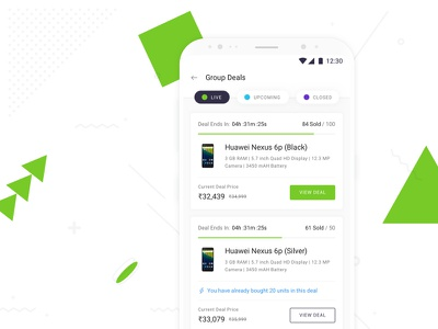 Introducing Group Deals on Shotang App sketch green white blue type typography mobile ux ui design app android