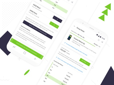 Group Deal Details Screen on Shotang App sketch green white blue type typography mobile ux ui design app android
