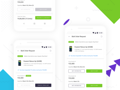 Bulk Order Request Details Screen on Shotang App sketch green white blue type typography mobile ux ui design app android