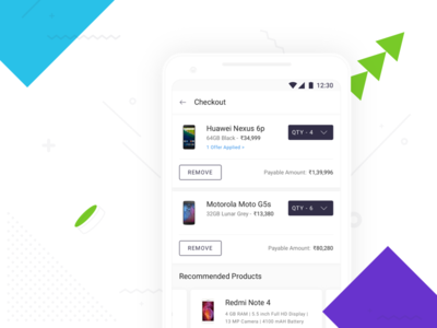 Cart Screen on Shotang App cart e-commerce price blue product typography mobile ux ui design app android
