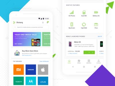 New Home Screen on Shotang App bottom nav e-commerce card blue product homepage mobile ux ui design app android