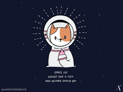 Spacecat gives no fucks doodleart cute cat space art space cat doodle illustration