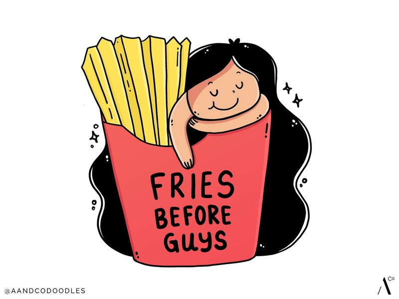 Fries before Guys quote cute doodleart doodle art fries fries before guys girl illustration doodle illustration