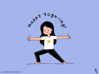 Happy Yoga Warrior doodle art cute yoga day warrior pose yoga pose yoga doodle illustration