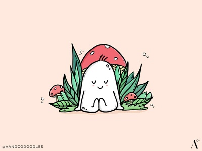 Chillin' with some 'shrooms chilling mushrooms cute doodleart doodlemon illustration doodle