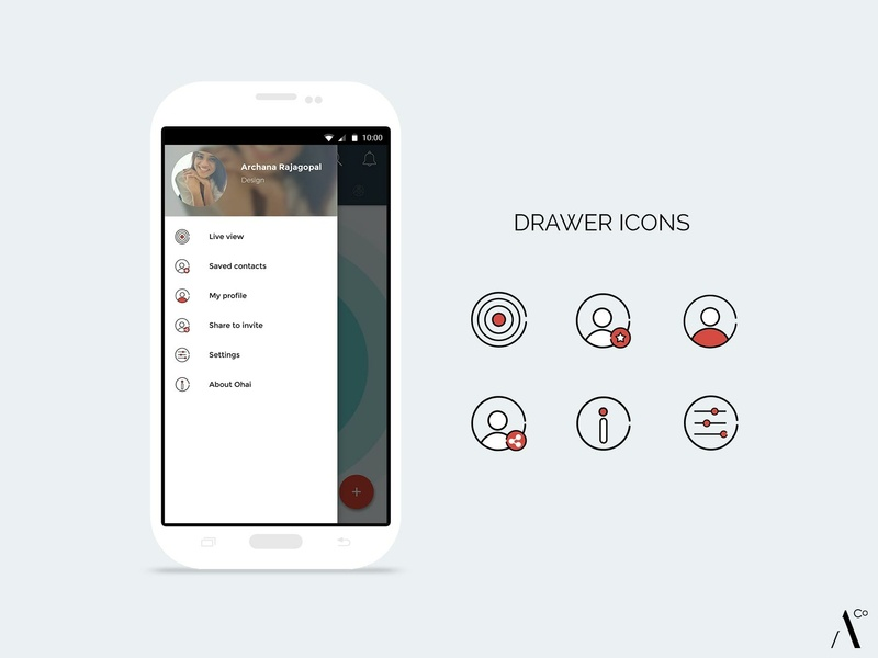 Icon Design - Ohai contacts saved contacts share info about settings user profile ui vector icon mobile app icon set icon app icon design