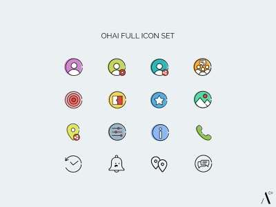 Ohai Icon Set - Full settings gallery invite share location match bookmark message chat call info about favorites live view share user profile icon set ui icon app icon design