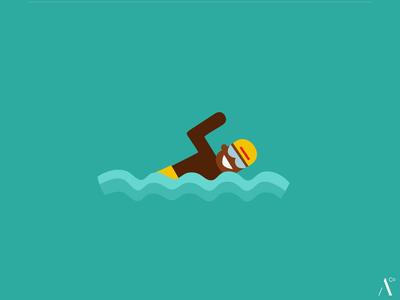 Swimming icon flatdesign vector illustration swimmer sports sport olympic swimming