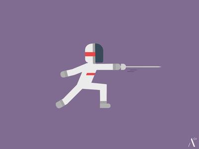 Fencing fencer fencing flat design sport vector illustration