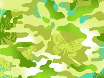 San 2285 camo camouflage butterfly girls textile design