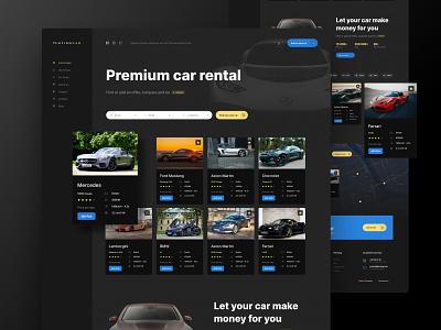 RentingCar Homepage website web card color ux clean minimal ui design simple