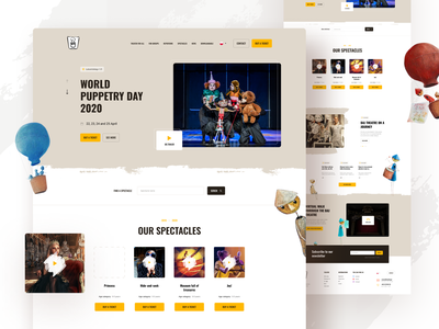 Puppet theater puppet theatre website web card color clean minimal design simple ui