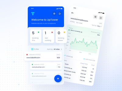 UpTower.io App mobile interface monitor website web monitor color card ux clean minimal design simple ui