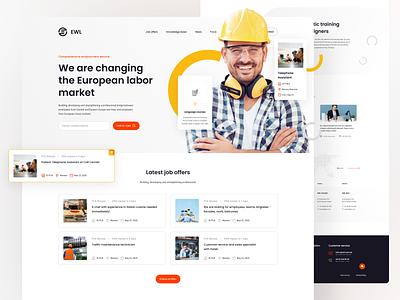EWL Homepage digital website color web card clean minimal design simple ui
