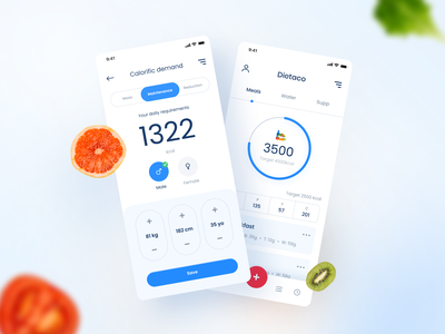 Dietaco - counting calories health fitness counting caloried food ux clean minimal design simple ui