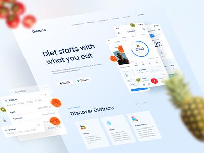 Dietaco - Landing page diet wrokout healthy application fitness webdesign lp landingpage card clean minimal design simple ui